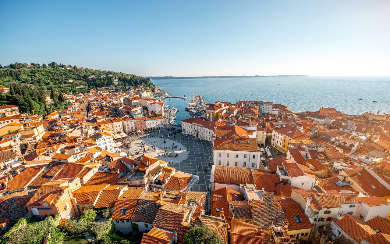 Vue aérienne de Piran Slovénie Adriatique